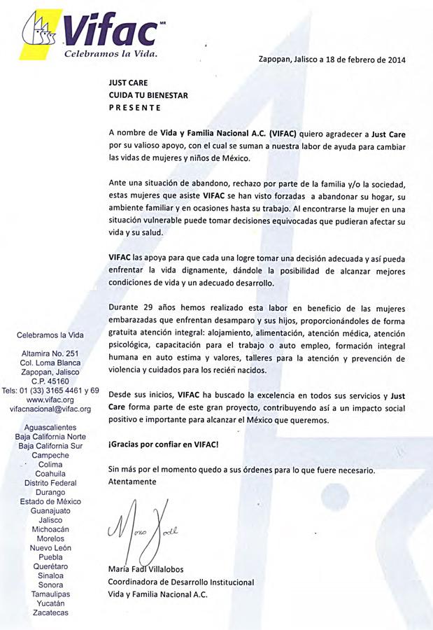 Carta de Agradecimiento VIFAC